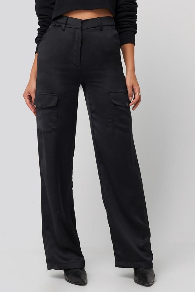Satin Cargo Pants Black