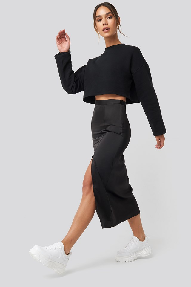 Slit Satin Skirt Black
