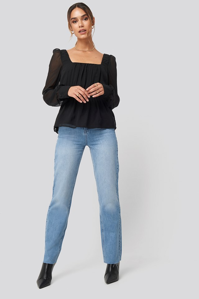 Square Neck Chiffon Top Black
