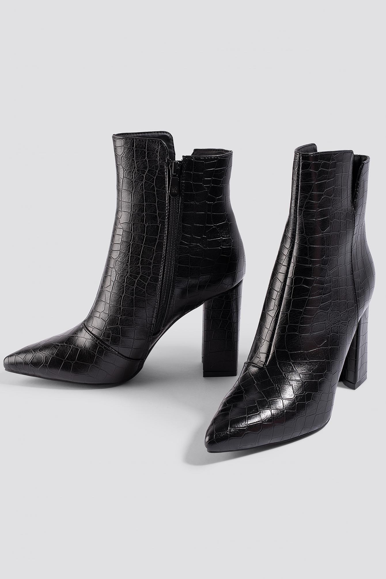 Pu Na Amisha Black Ankle Boot Croc xwH67Zq