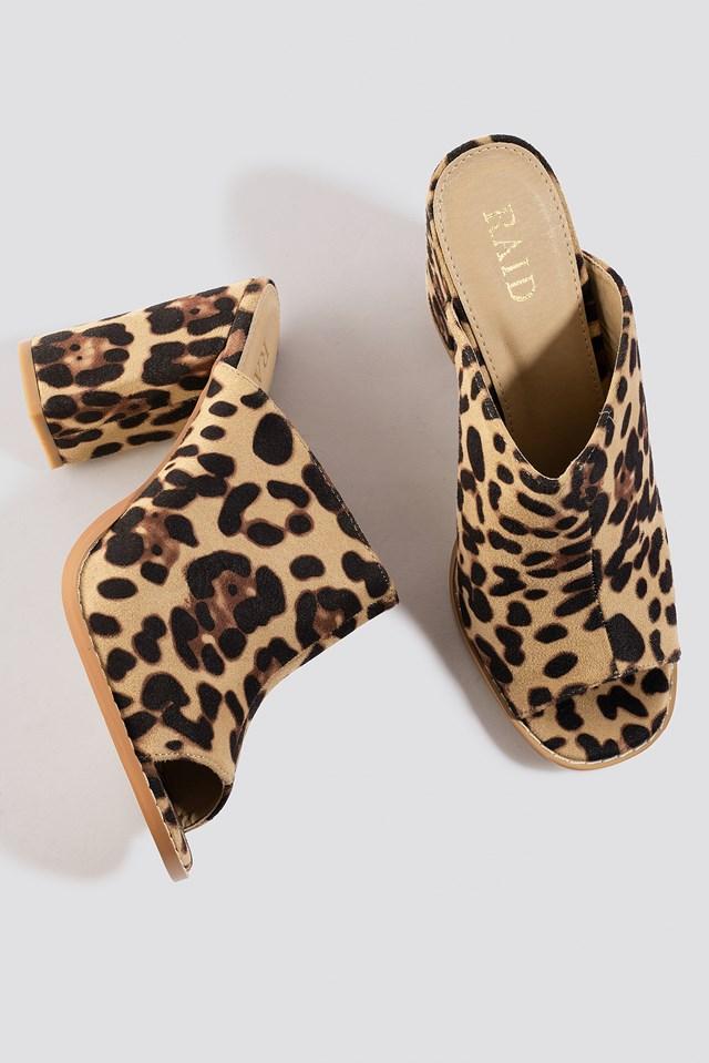 Dessa Mule Nude Leopard Suede
