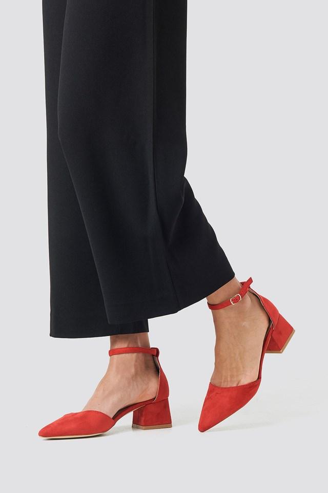 Noely Low Block Heel Red Suede