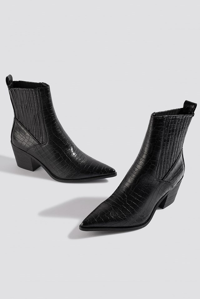 Rocco Ankle Boot Black Croc Pu