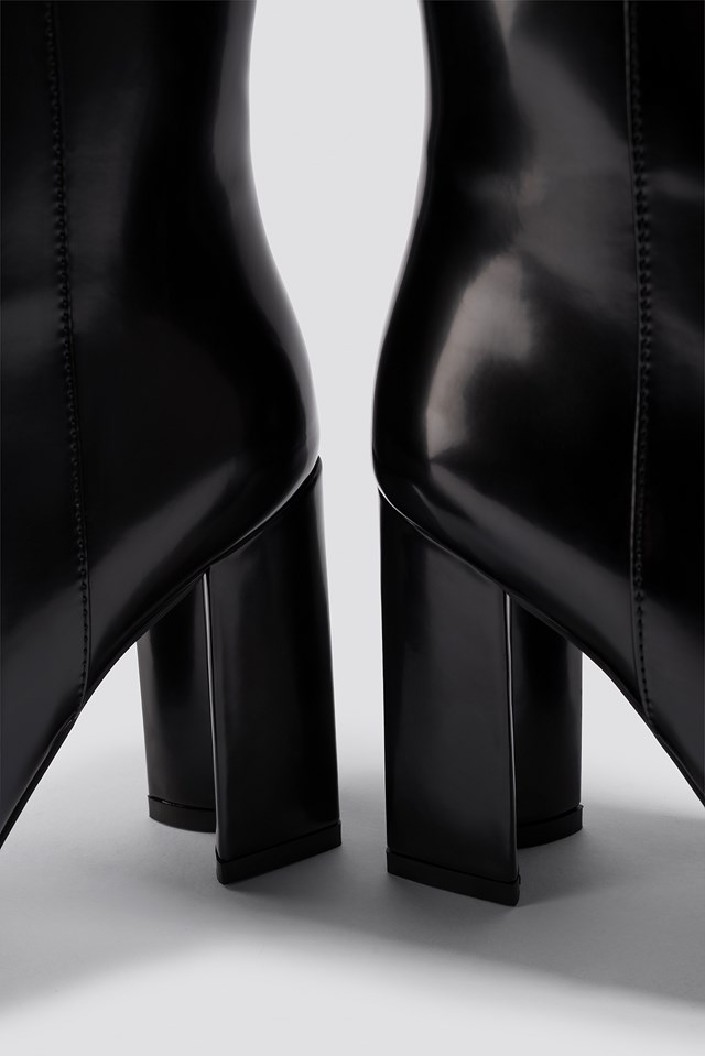 Rylee High Leg Bootie Black PU