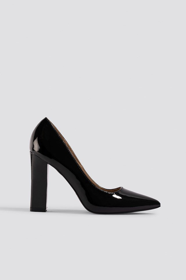 Zia Block Heel Court Pumps Black Patent