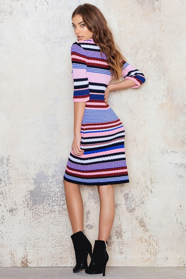 Knitted Colorful Striped Dress Pink