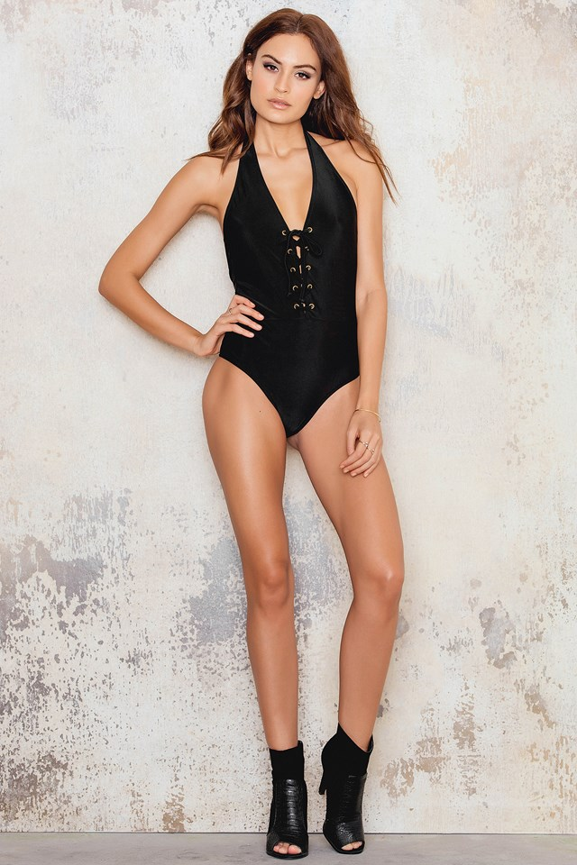 Lacing Swimsuit Black