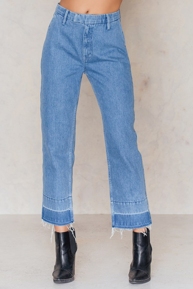Raw Edge Highwaist Ankle Jeans Mid Blue