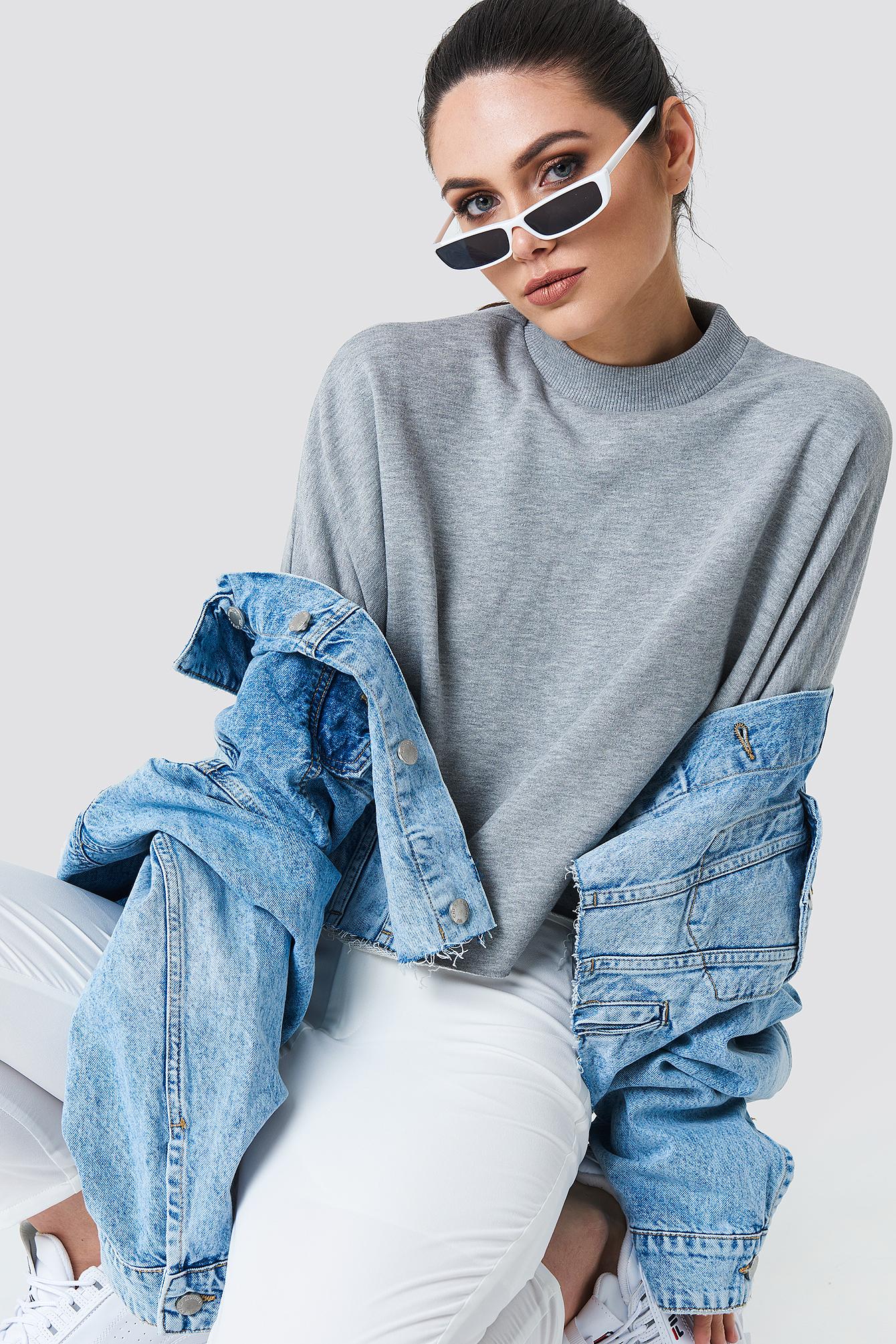 Raw Hem Batwing Sweatshirt NA-KD.COM