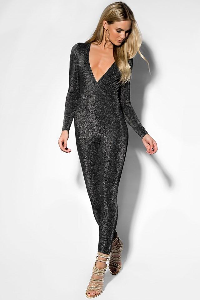 Deep Neck Glittery Jumpsuit Black
