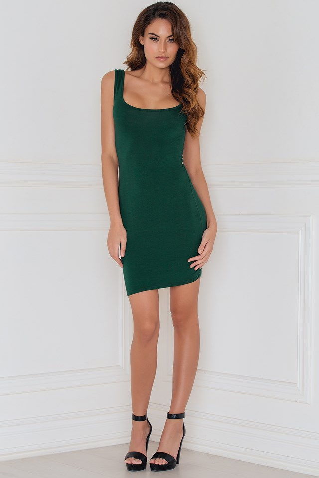 Get the Scoop Tank Mini Dress Kim Green