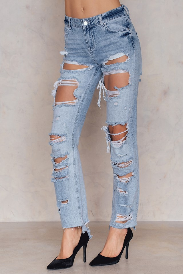 Distressed Denim Jeans Light Blue