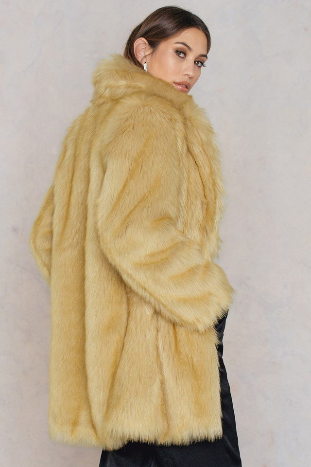 Long Faux Fur Jacket Light Camel