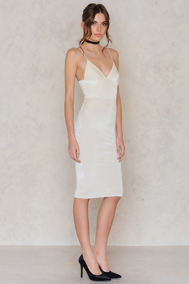 Lovestoned Velour Midi Dress Cream