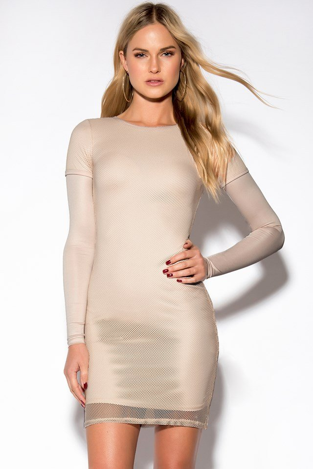 Mesh Long Sleeve Dress Nude