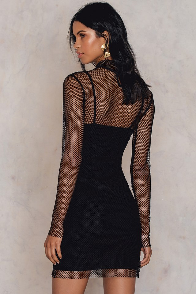 Mesh Polo Short Dress Black