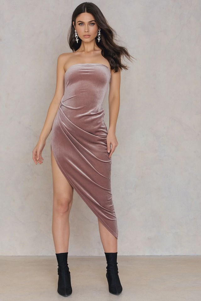 Off Shoulder Side Slit Dress Dusty Purple