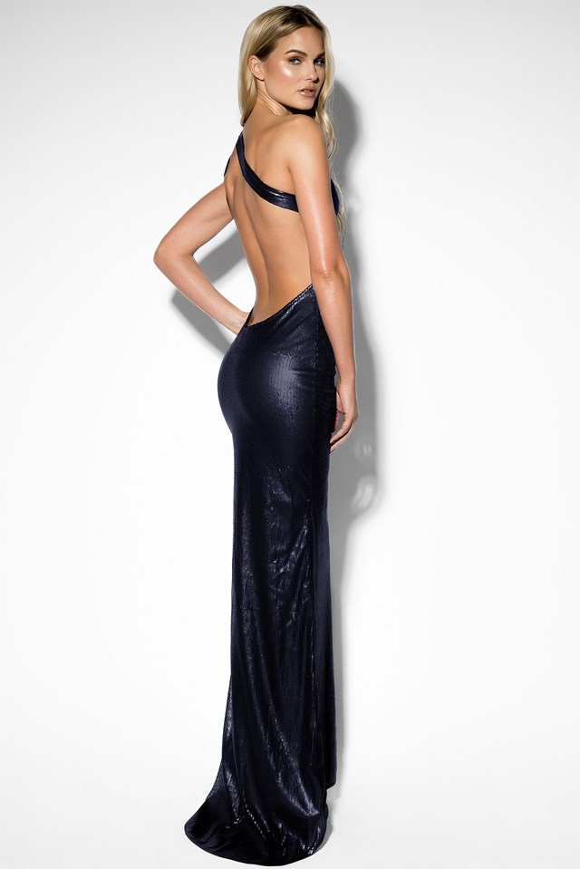 One Shoulder Sequin Dress Dark Blue