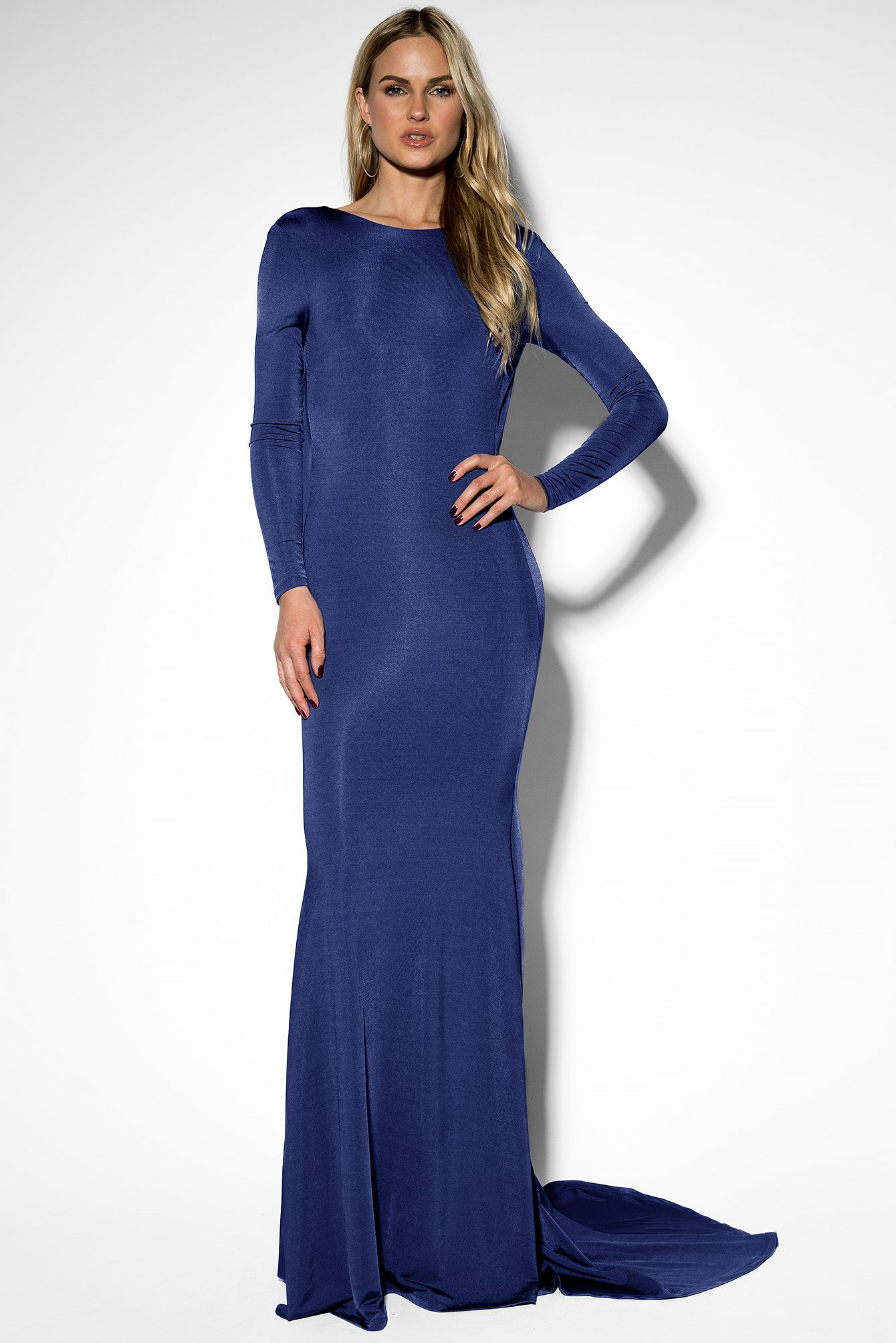 Dark Blue Open Back Mermaid Dress
