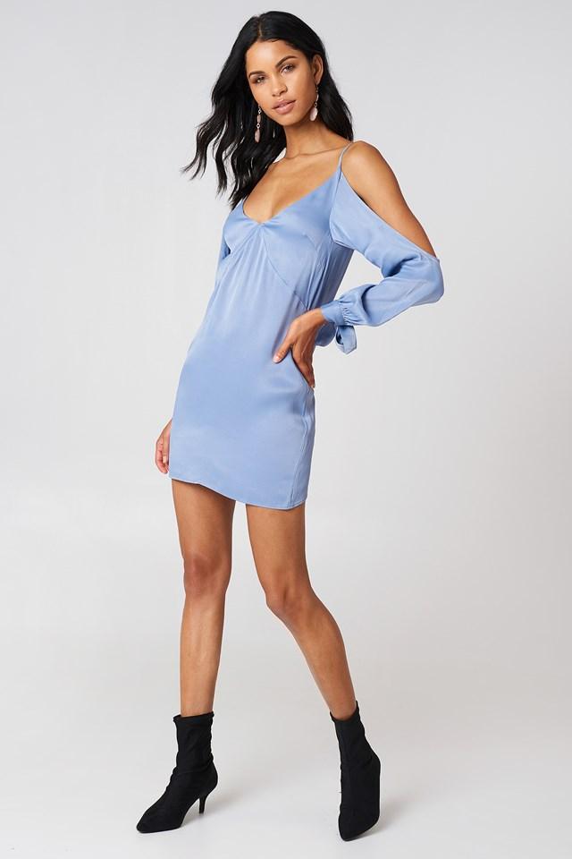 Open Shoulder Satin Dress Stone Blue