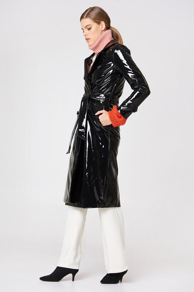 Patent Long Trench Black