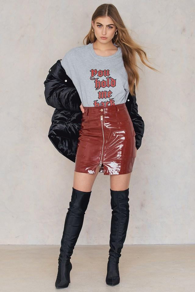 Patent Zipper Skirt Red