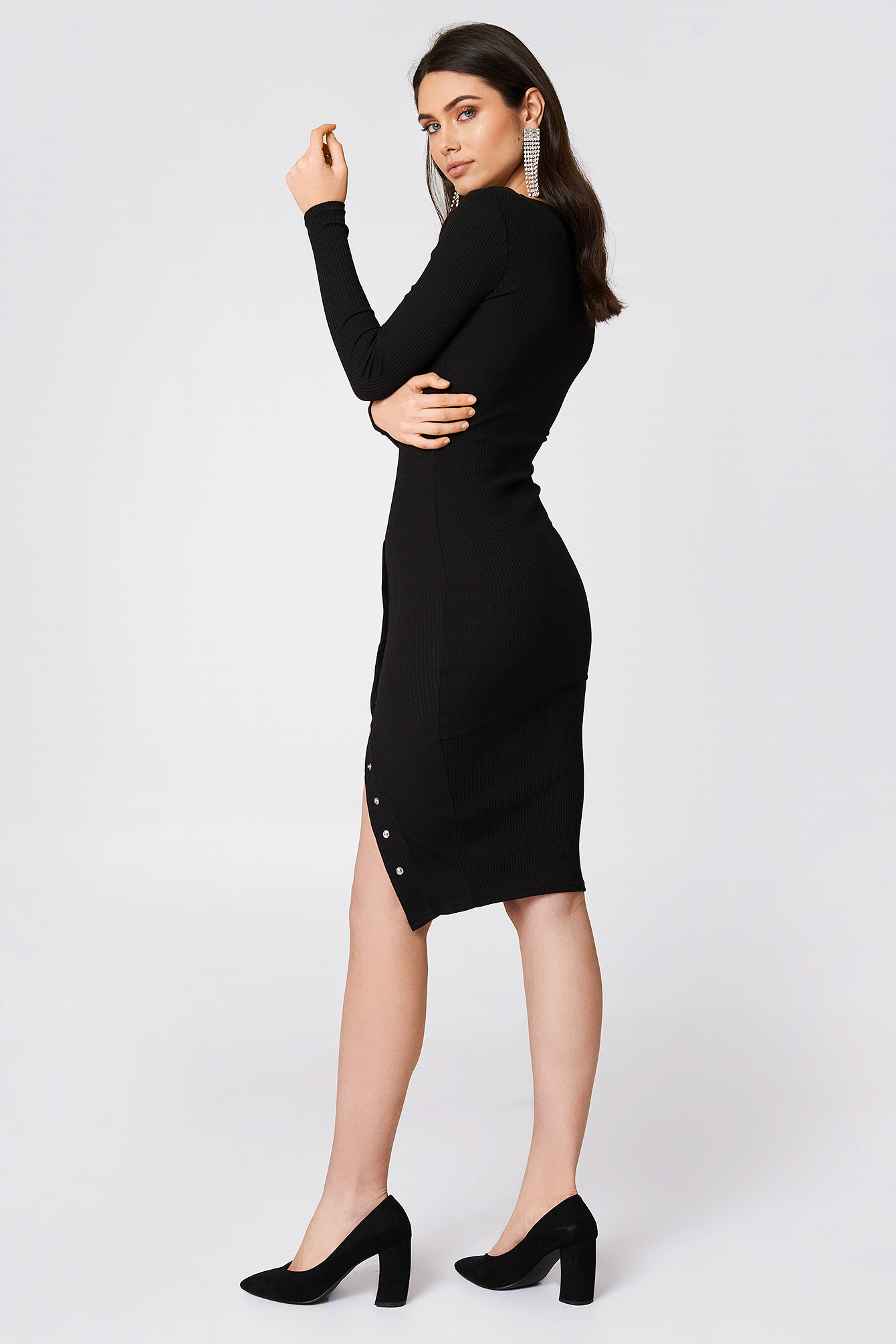 Ribbed Buttoned Slit Dress NA-KD.COM