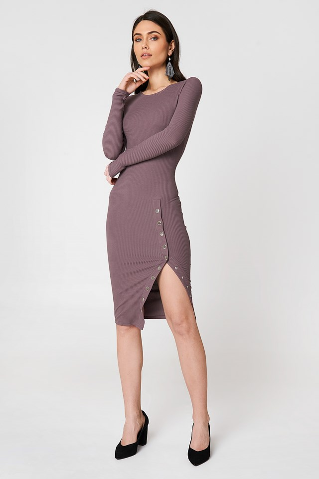 Ribbed Buttoned Slit Dress Mud