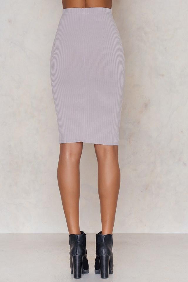 Ribbed the Right Way Midi Skirt Light Grey