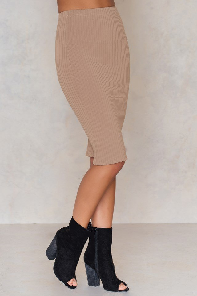Ribbed the Right Way Midi Skirt Taupe