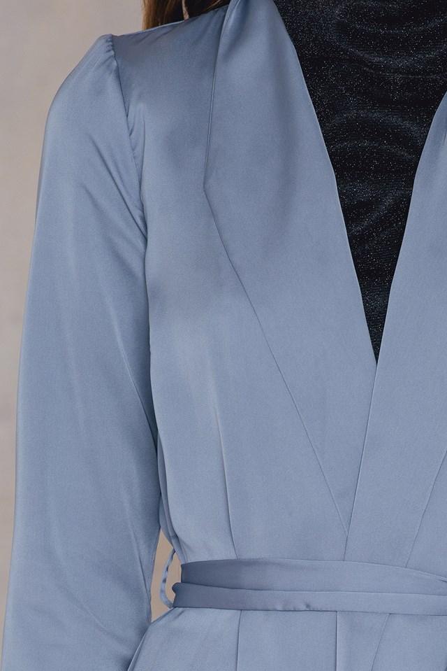 Satin Long Coat Stone Blue