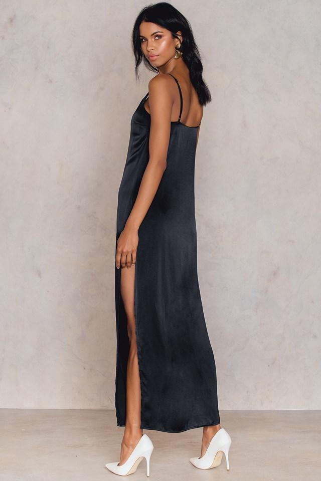 Satin Slit Long Dress NA-KD.COM