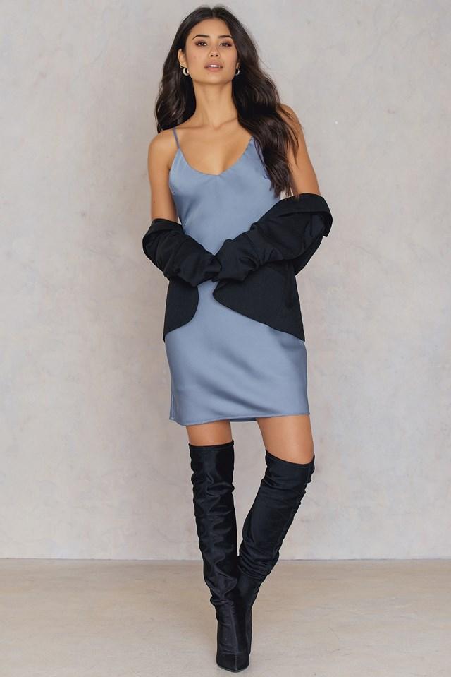 Satin Slip Short Dress Stone Blue