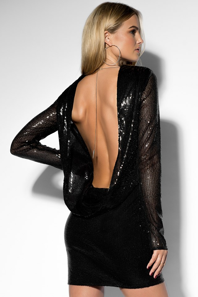 Sequin Open Back L/S Dress Black