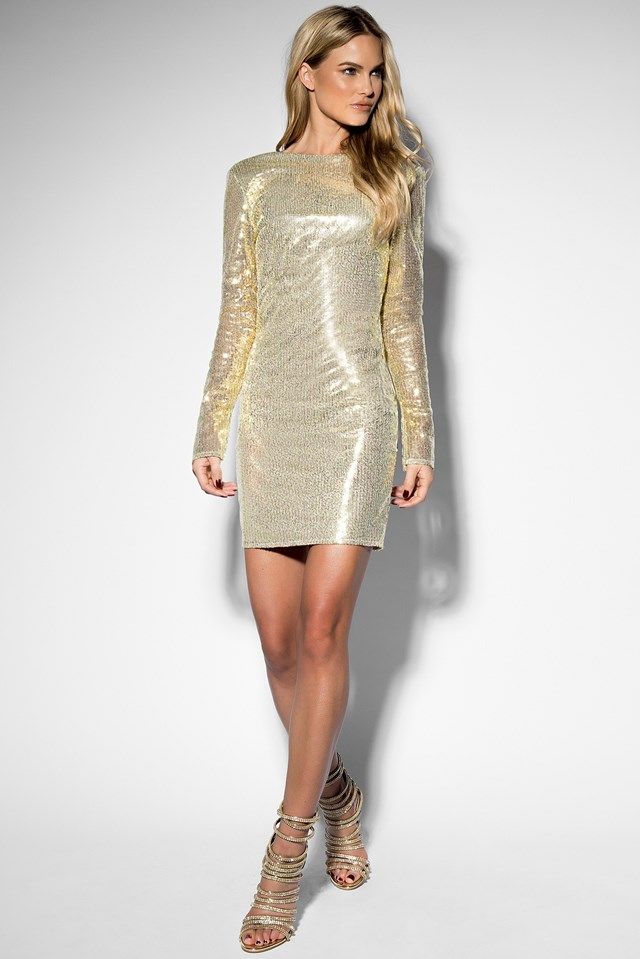 Sequin Open Back L/S Dress Gold