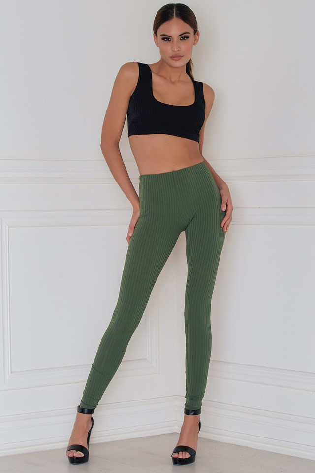 Show 'em up Rib Leggings Khaki