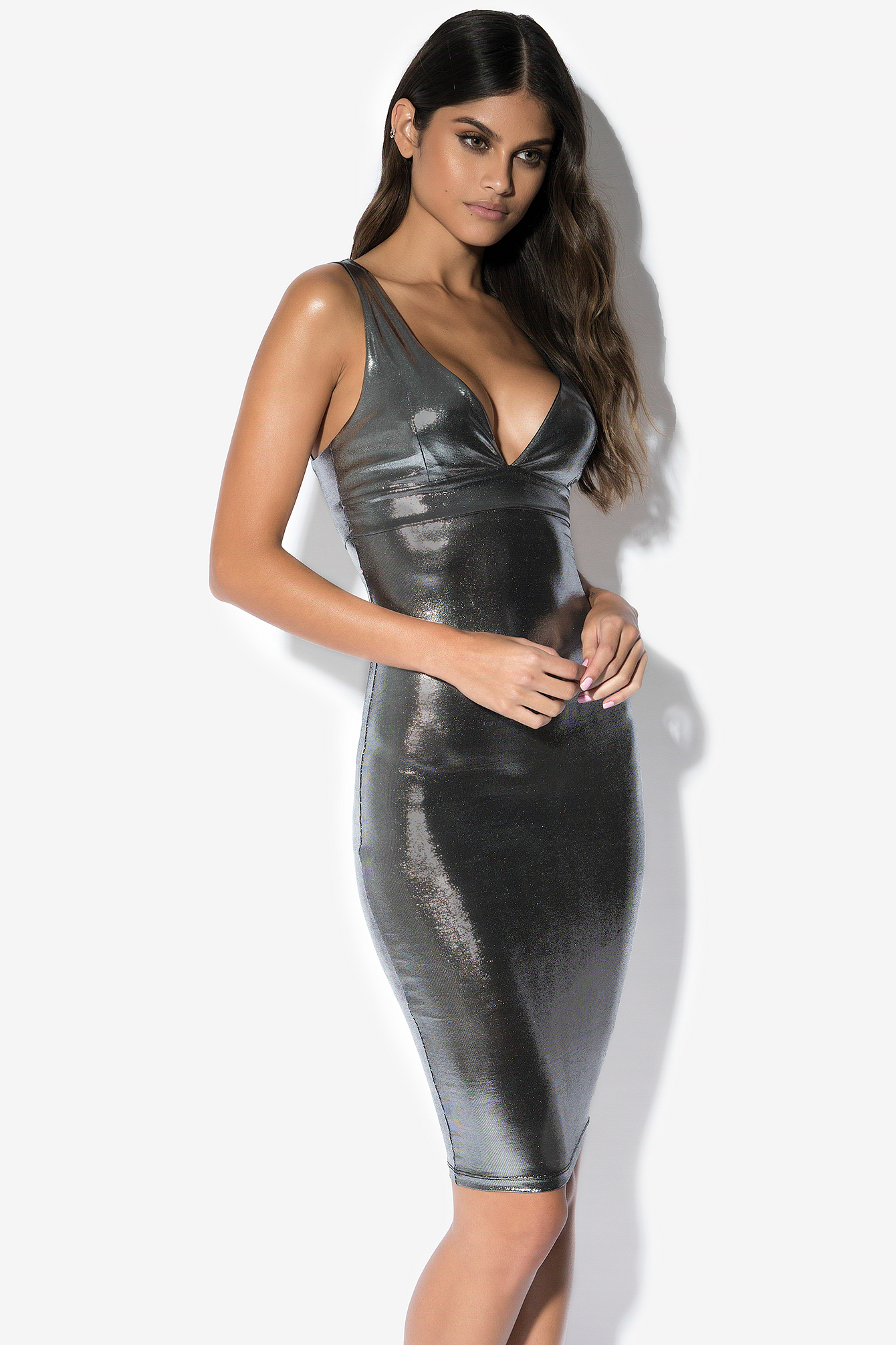Silver Shiny Dress NA-KD.COM