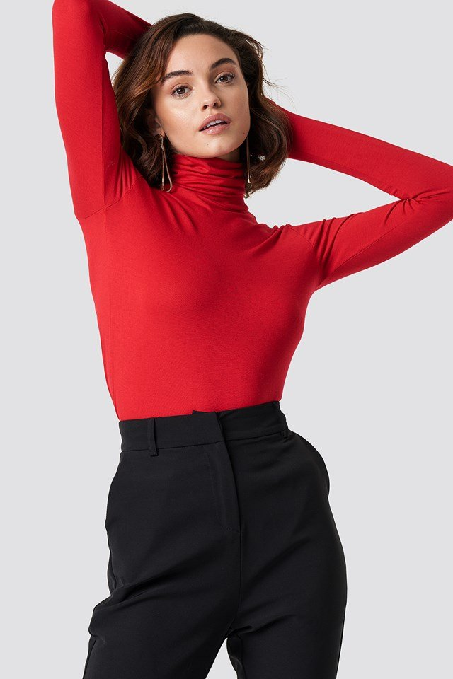 Viscose Long Sleeve Polo Top NA-KD Basic