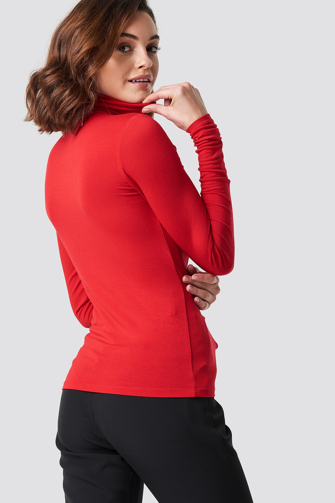 Viscose Long Sleeve Polo Top NA-KD.COM