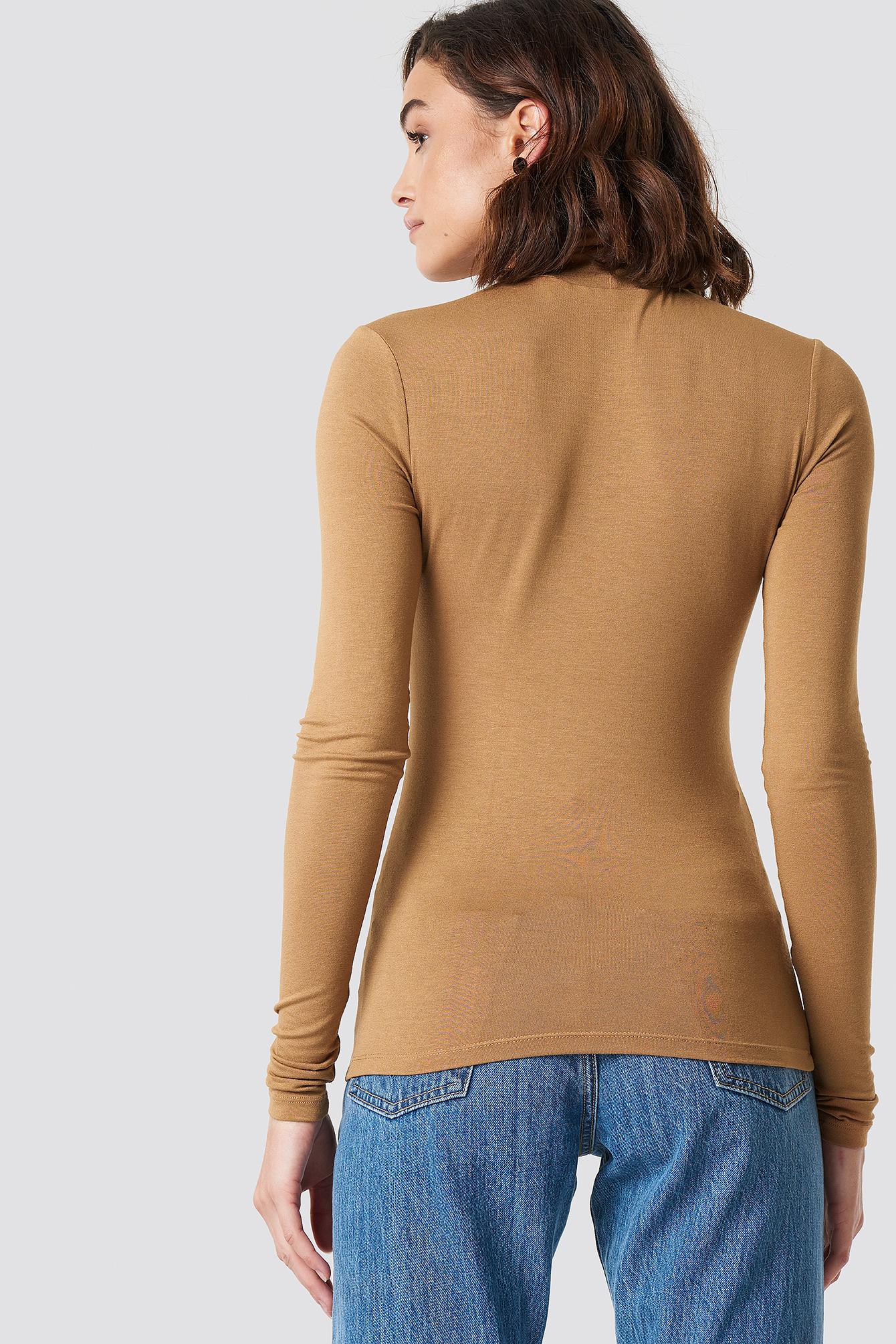 Viscose Long Sleeve Polo Top NA-KD.COM