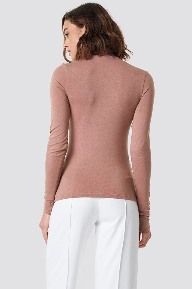Viscose Long Sleeve Polo Top Dusty Dark Pink