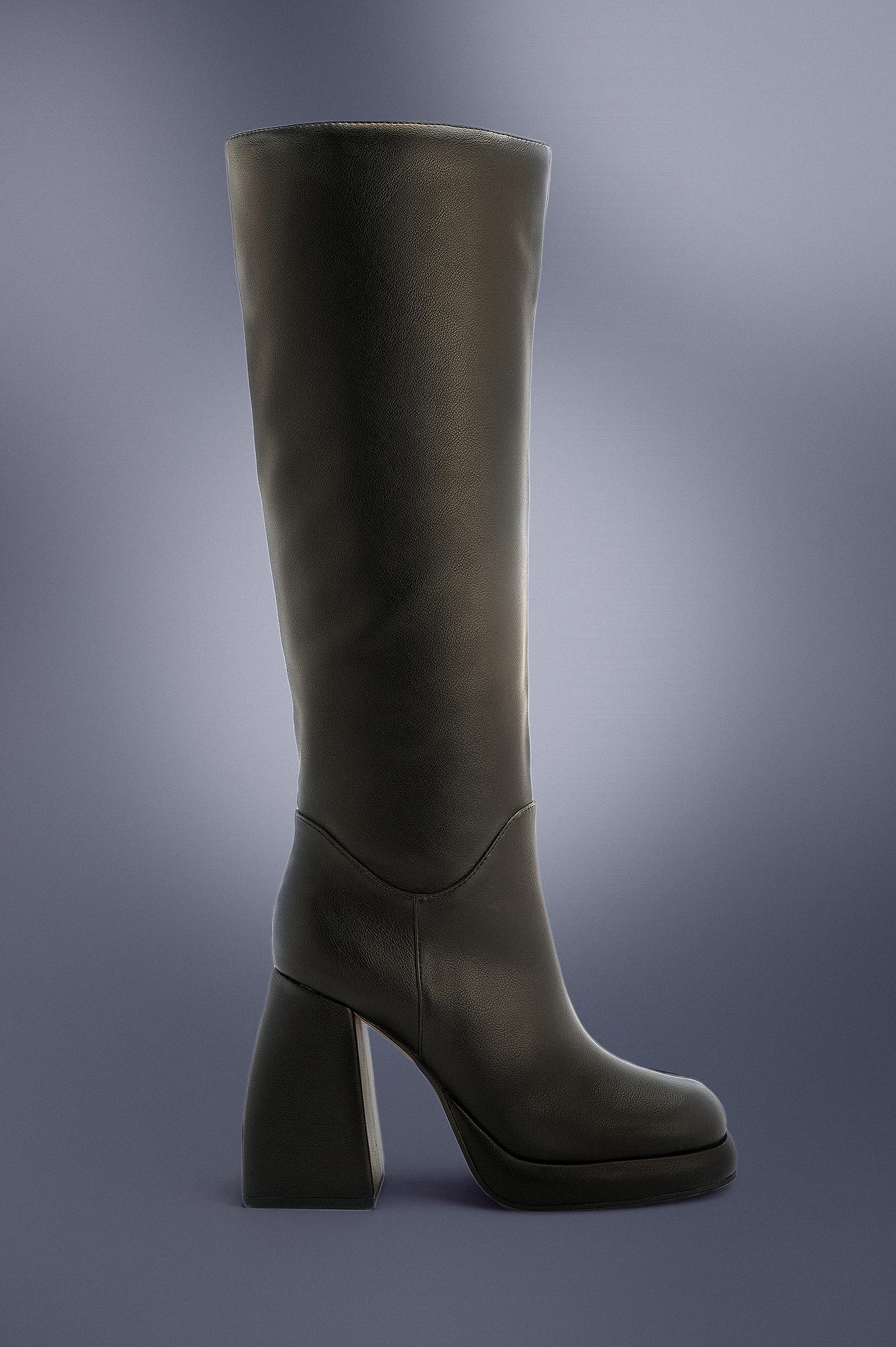 NA-KD Shoes Plateaustøvler I Retrolook - Black