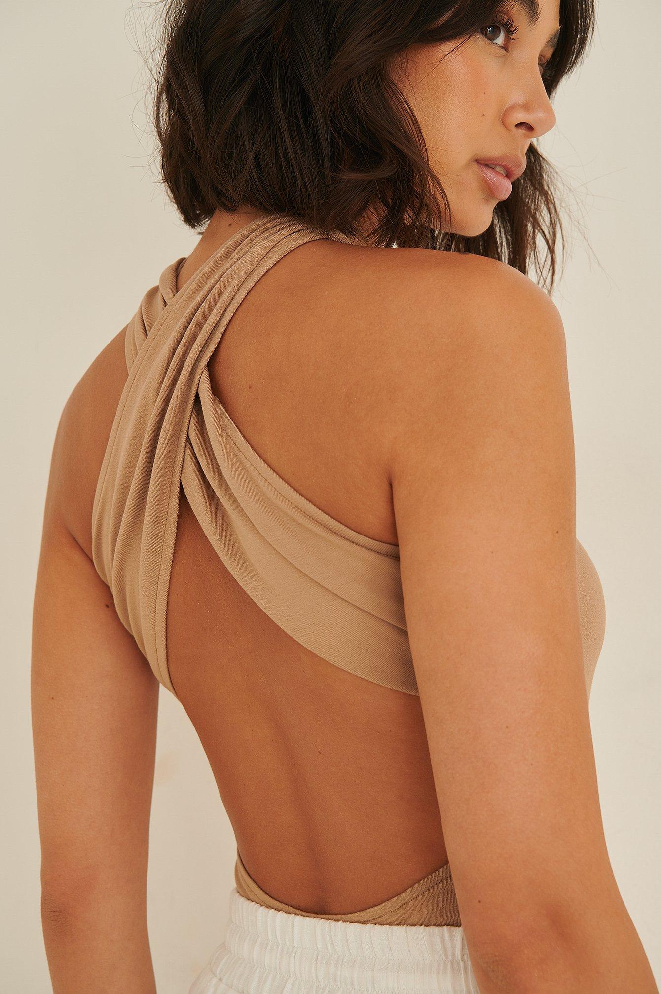 rianne meijer x na-kd -  Body Mit Gekreuzter Rückenpartie - Brown