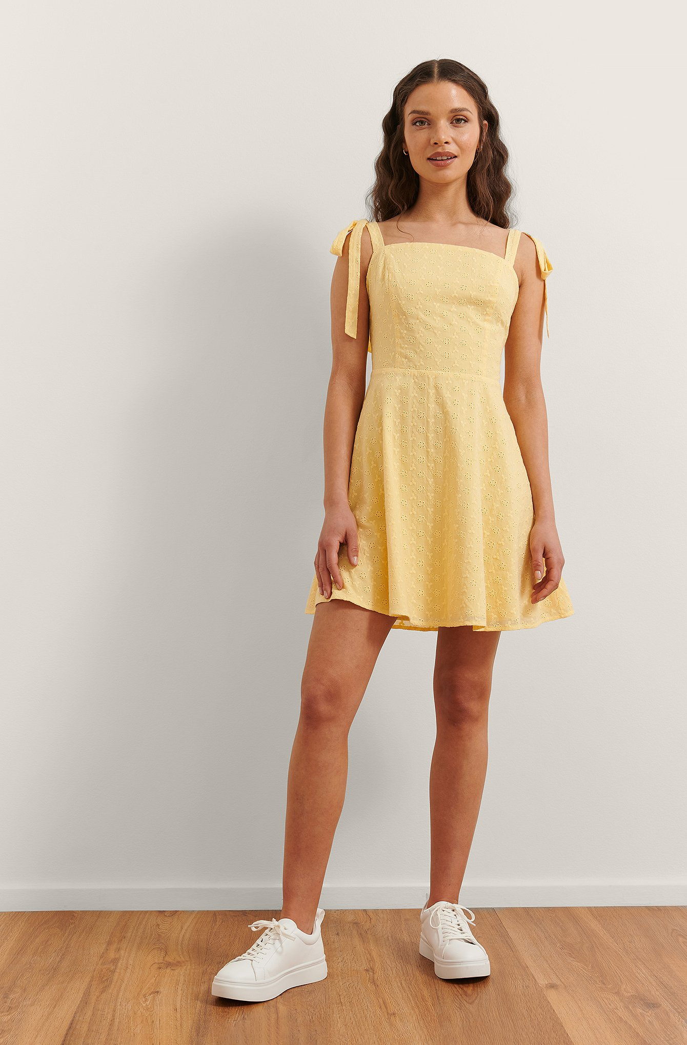 Yellow Embroidered Mini Dress