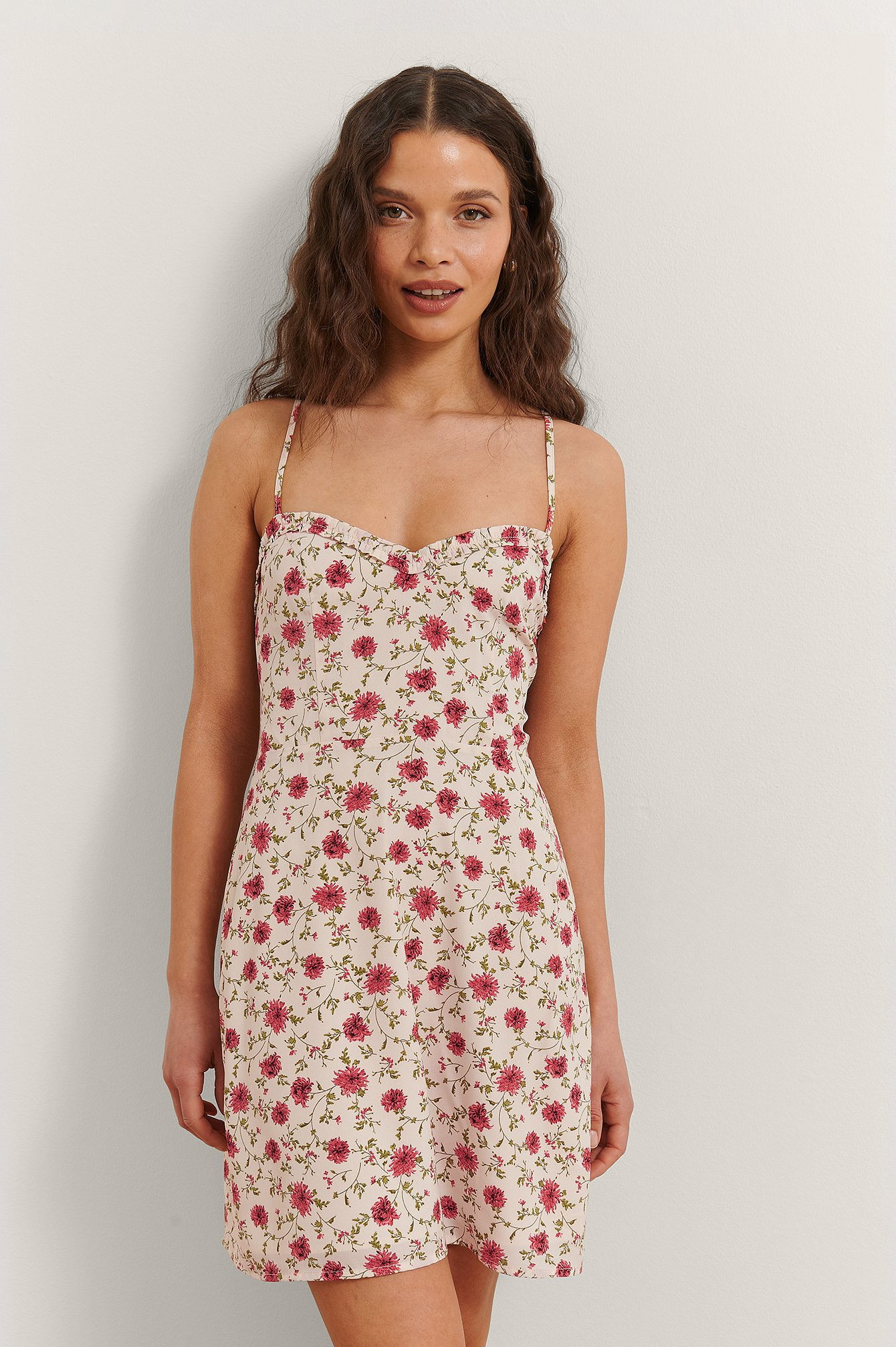 Red Flower Flower Print Mini Dress