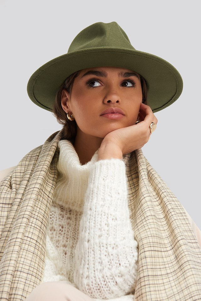 Ribbon Fedora Hat Khaki