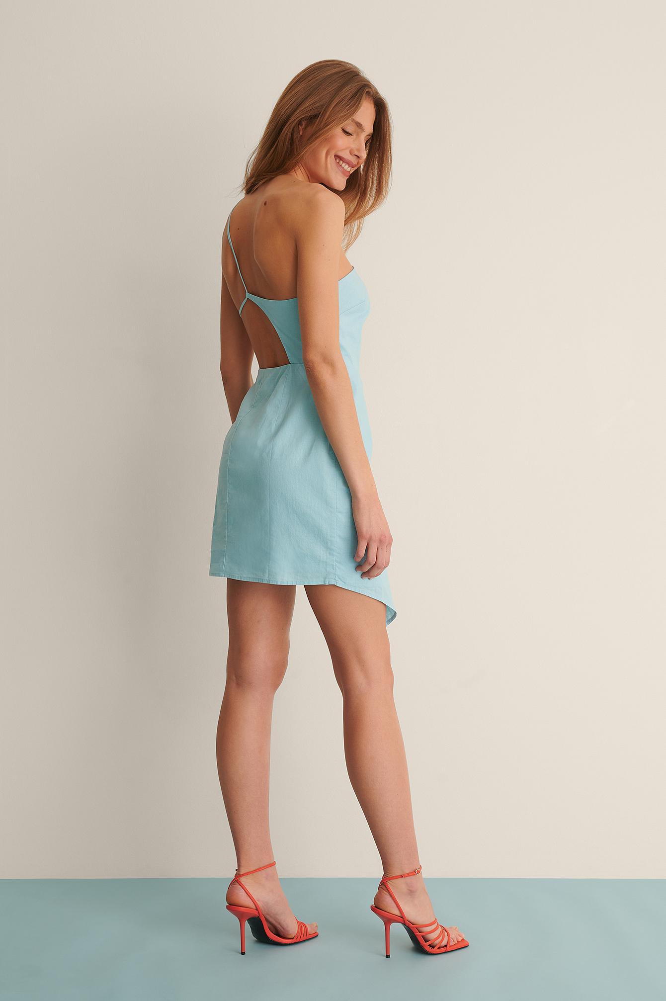 curated styles -  Minikleid Aus Leinenmischung - Blue