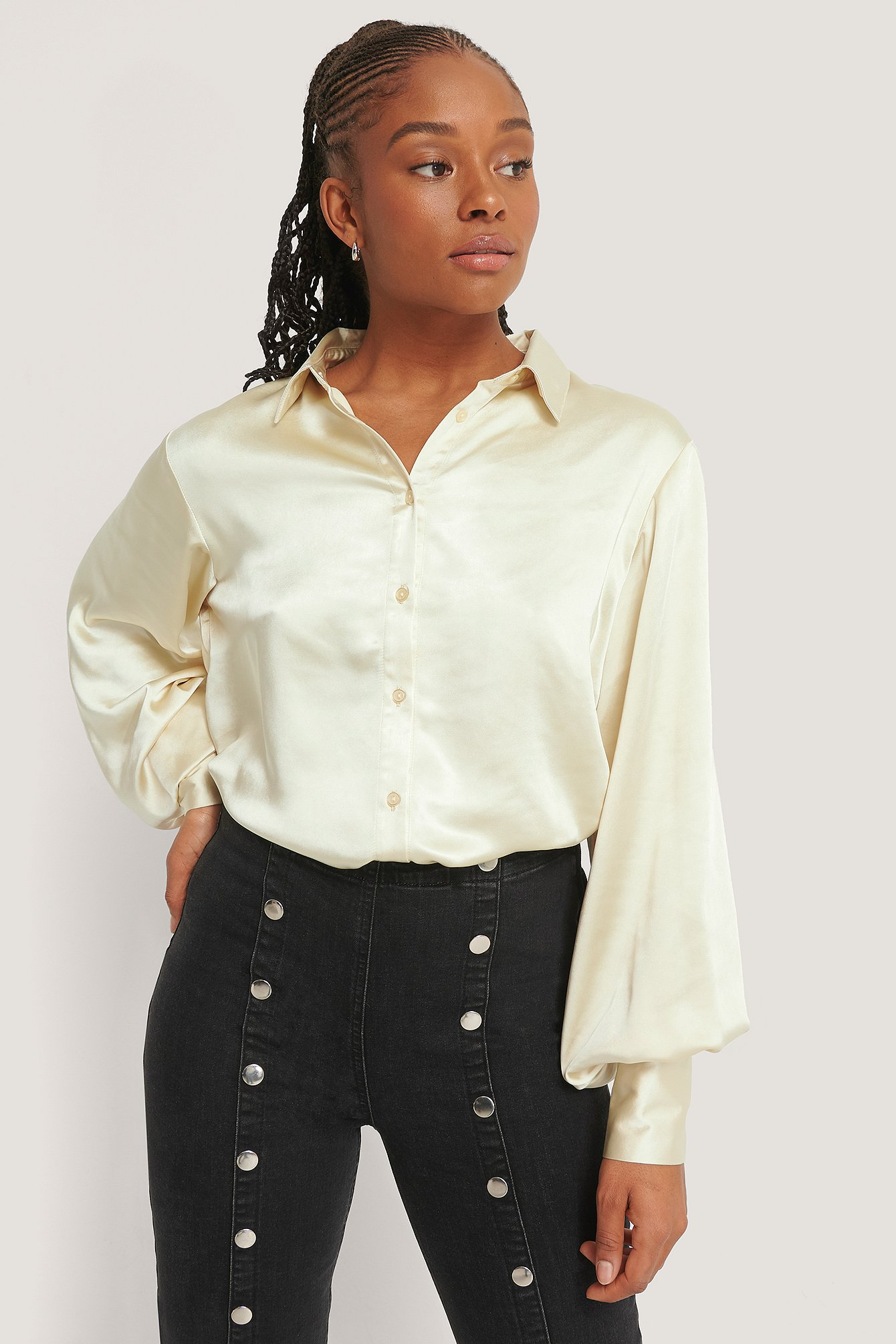 Champagne Big Cuff Satin Blouse
