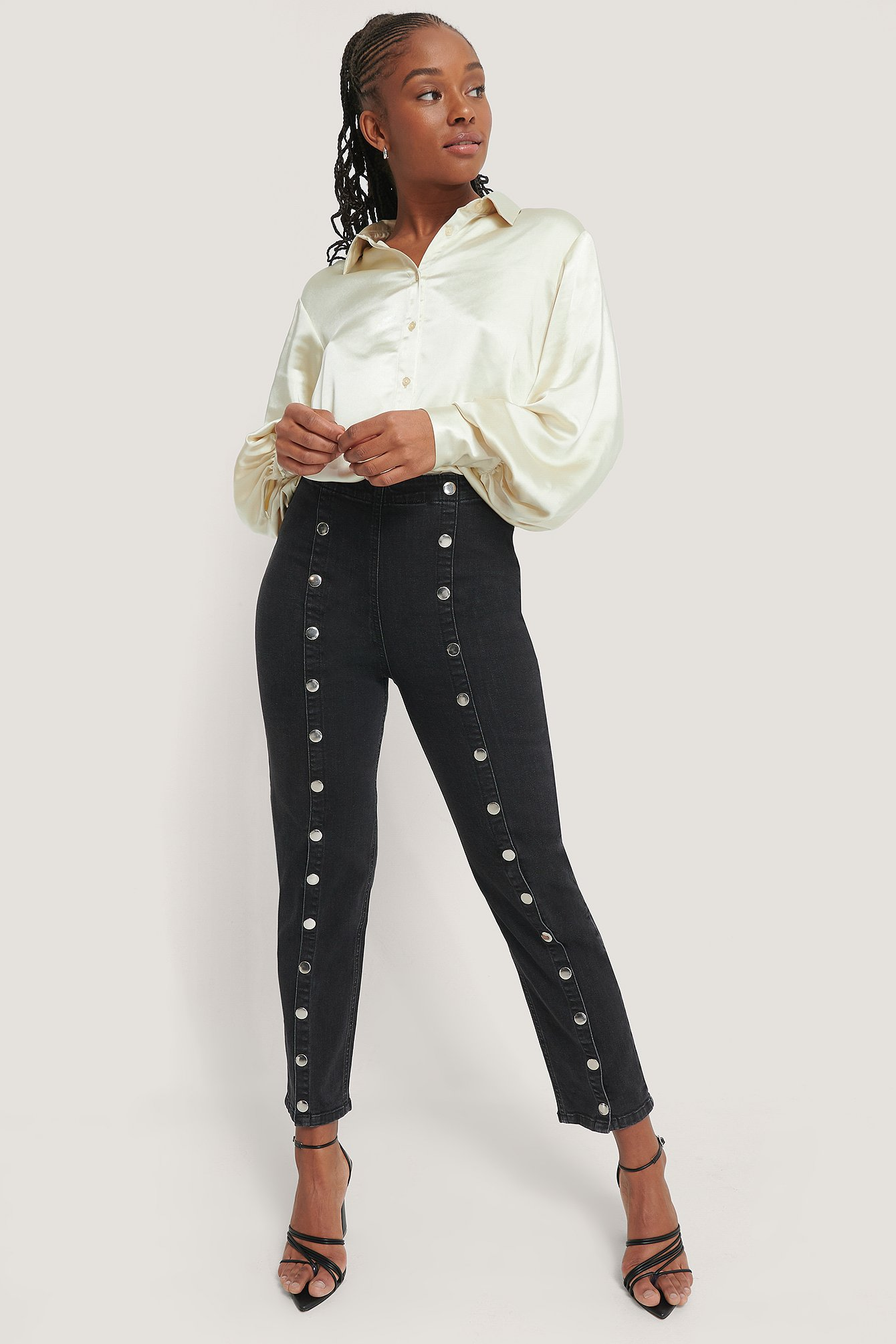Romy X Na-kd Button Front Jeans Black