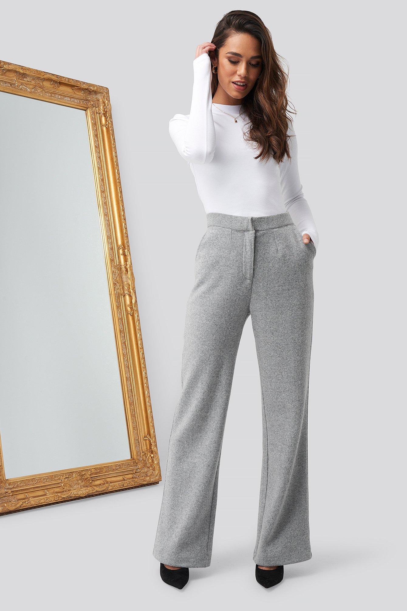 romy x na-kd -  Flare Leg Pants - Grey